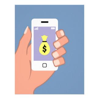 Bag of money Smartphone in Hand App Letterhead