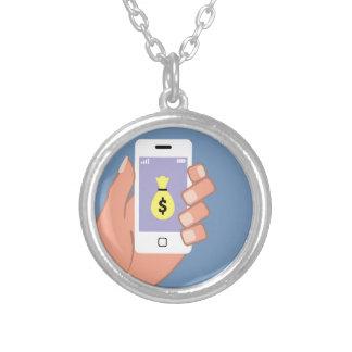 Bag of money Smartphone in Hand App Round Pendant Necklace