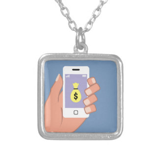 Bag of money Smartphone in Hand App Square Pendant Necklace