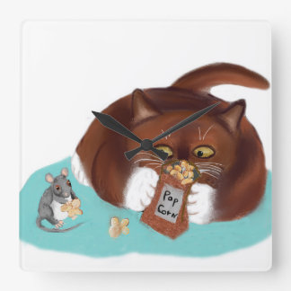 Bag of Popcorn for Mouse and Kitten Square Wall Clock