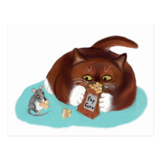 Bag of Popcorn for Mouse and Kitten Postcard