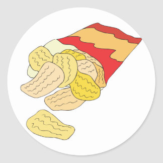 bag of potato chips round stickers