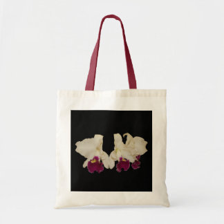Bag, purple and white cattleyas tote bag