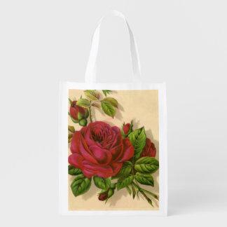bag.roses que hace compras reutilizable floral bolsas para la compra