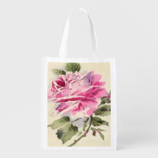 bag.roses que hace compras reutilizable floral bolsa reutilizable