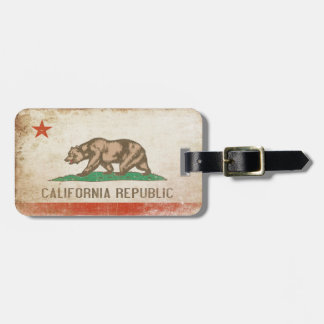 Bag Tag with Distressed California Republic Flag