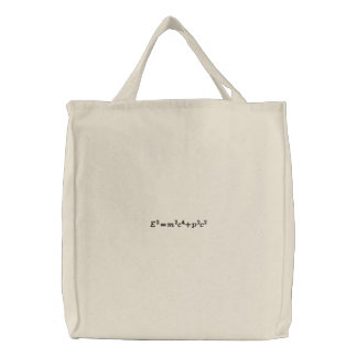 Bag: The full mass-energy relationship Embroidered Tote Bag