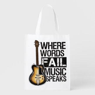"Bag ""Where fail Words music speaks""."