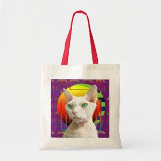 Bag White Devon Rex Cat on purple