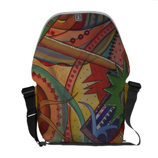 bag with multicolored sample on yellow reason