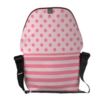 Bag with pink stripes and pink polka dots.