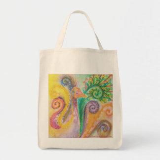 Bag with Swirly Colourful Bird Design