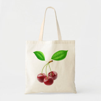 Bag with three sweet cherries