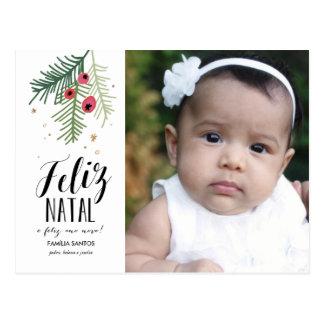 Bagas Vermelhas | Feliz Natal | Cartão Postal Postcard