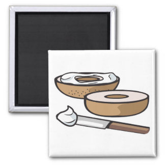 bagel and cream cheese 2 inch square magnet
