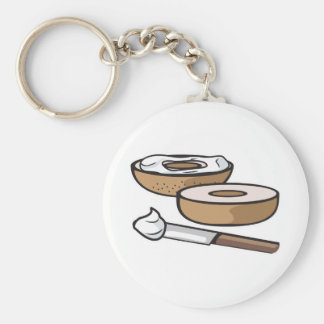 bagel and cream cheese basic round button keychain
