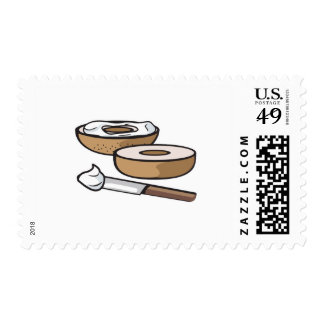 bagel and cream cheese postage
