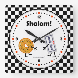 Bagel and Cream Cheese - Shalom - Friendly Foods Square Wall Clock