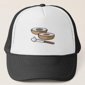 bagel and cream cheese trucker hat