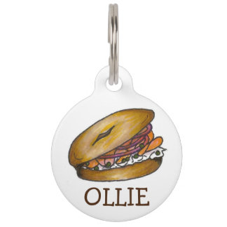 Bagel Capers Cream Cheese Lox NYC Breakfast Food Pet Name Tag