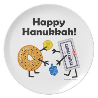 Bagel & Cream Cheese - Happy Hanukkah! Dinner Plate