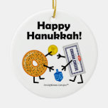 Bagel & Cream Cheese - Happy Hanukkah! Double-Sided Ceramic Round Christmas Ornament