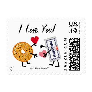 Bagel & Cream Cheese I Love You! Valentine Hearts Postage