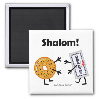Bagel & Cream Cheese - Shalom! 2 Inch Square Magnet