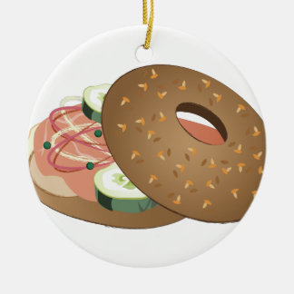 Bagel Double-Sided Ceramic Round Christmas Ornament