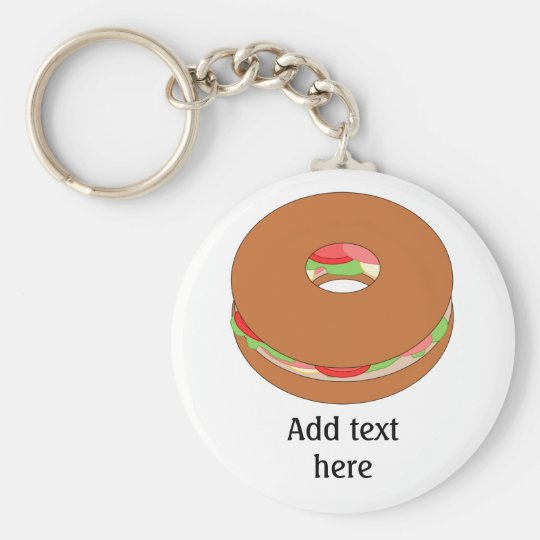 Bagel graphic: Add Your Text for a Fun Custom Keychain