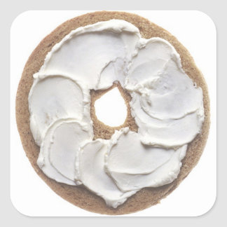 Bagel with Cream Cheese Square Sticker