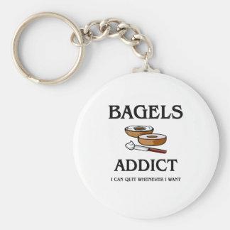 Bagels Addict Basic Round Button Keychain