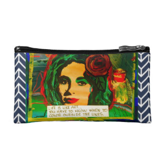 BAGETTE-LIFE IS LIKE ART  AND   ART SAVES LIVES MAKEUP BAG