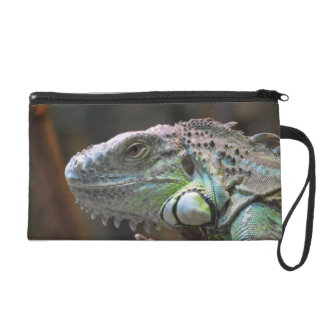 Bagettes Bag with head of colourful Iguana lizard