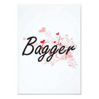 Bagger Artistic Job Design with Hearts 3.5x5 Paper Invitation Card
