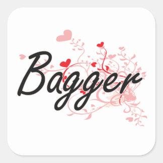 Bagger Artistic Job Design with Hearts Square Sticker