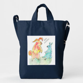 Baggu blue bag with Hare Hoppers watercolor