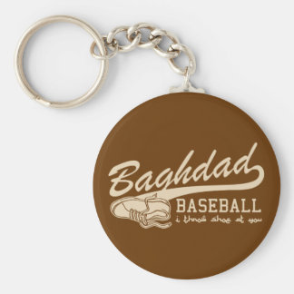 baghdad baseball - i throw shoe at you basic round button keychain