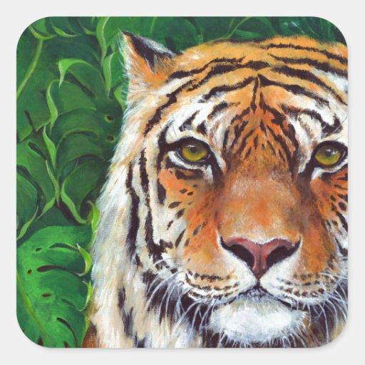 Bagheera el tigre pegatina cuadrada