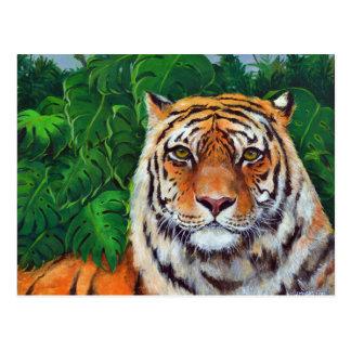 Bagheera la postal del tigre de la pintura