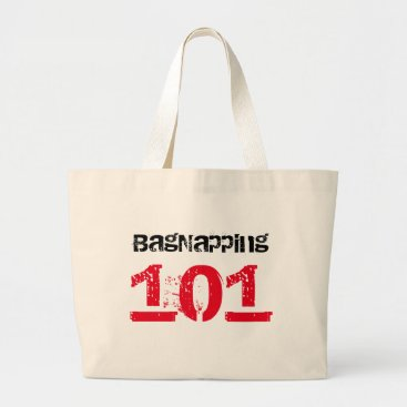Beach Themed Bagnapper 101 Red & Black Text Large Tote Bag