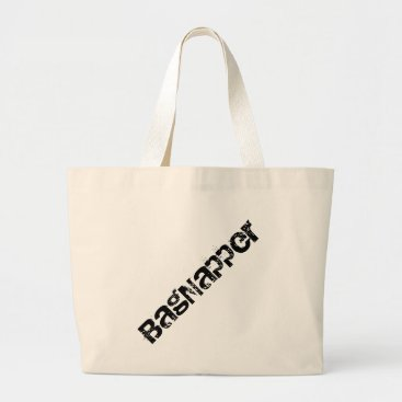 Beach Themed Bagnapper Black Text Large Tote Bag