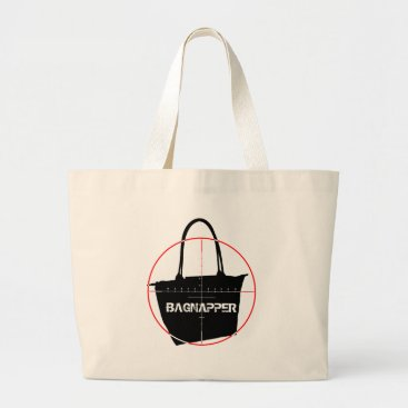 Beach Themed Bagnapper Target Red & Black Text Large Tote Bag