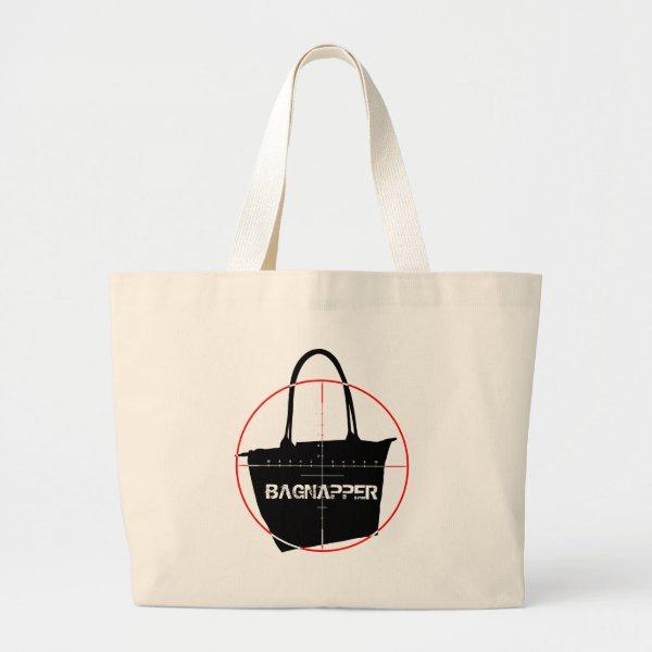 Bagnapper Target Red & Black Text Large Tote Bag