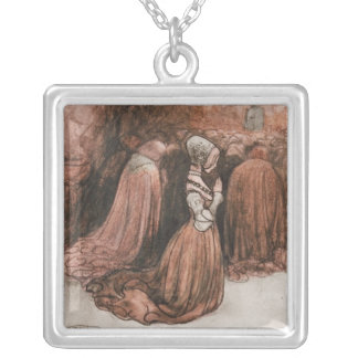 Bagneta on Her Knees Square Pendant Necklace