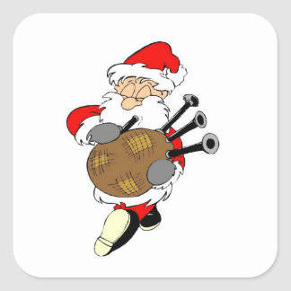 Bagpipe Irish Santa Claus Square Sticker