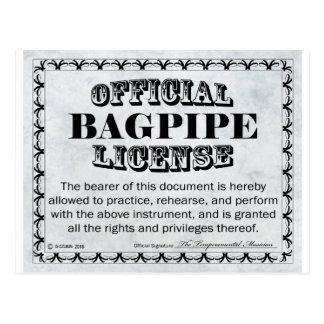 Bagpipe License Postcard