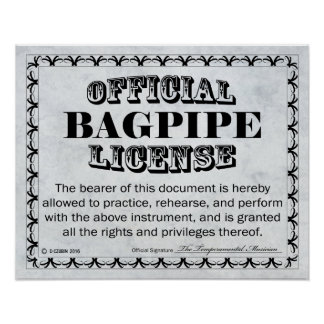 Bagpipe License Poster