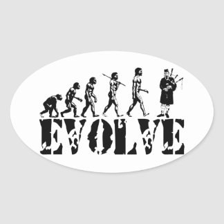 Bagpipe Pipers Bagpiper Musical Evolution Art Oval Sticker