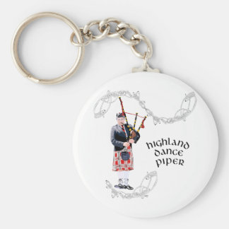 Bagpipe Player in Red Kilt Basic Round Button Keychain